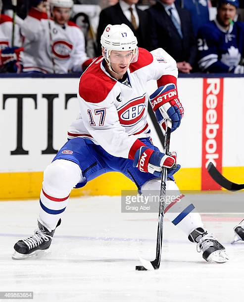 Torrey Mitchell of the Montreal Canadiens skates during NHL game action against the Toronto Maple Leafs April 11 2015 at the Air Canada Centre in...