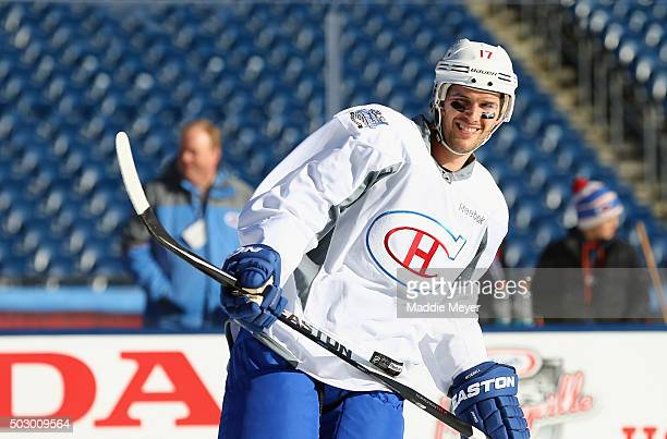 Torrey Mitchell of the Montreal Canadiens skates during practice at Gillette Stadium on December 31 2015 in Foxboro Massachusetts