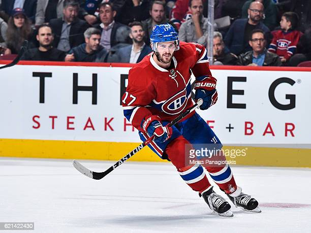Torrey Mitchell of the Montreal Canadiens skates during the NHL game against the Vancouver Canucks at the Bell Centre on November 2 2016 in Montreal...