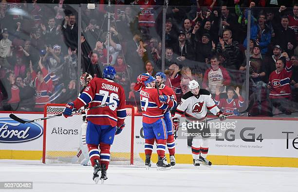Torrey Mitchell the Montreal Canadiens celebrates after scoring a goal against the New Jersey Devils in the NHL game at the Bell Centre on January 6...