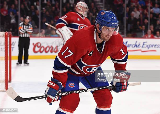 Torrey Mitchell the Montreal Canadiens during the game against the Detroit Red Wings at the Bell Centre on April 9 2015 in Montreal Quebec Canada