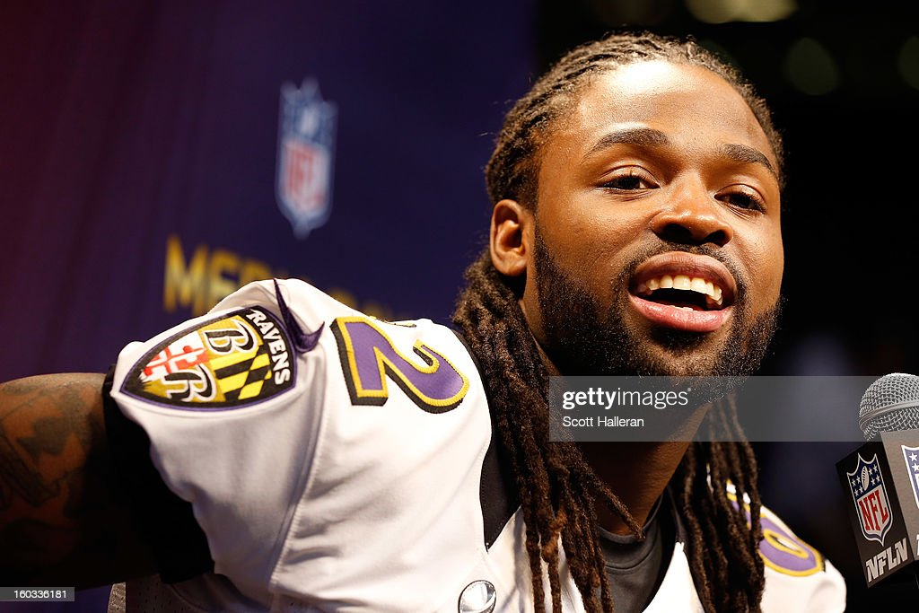 Torrey Smith of the Baltimore Ravens answers questions from the media during Super Bowl XLVII Media Day ahead of Super Bowl XLVII at the MercedesBenz...