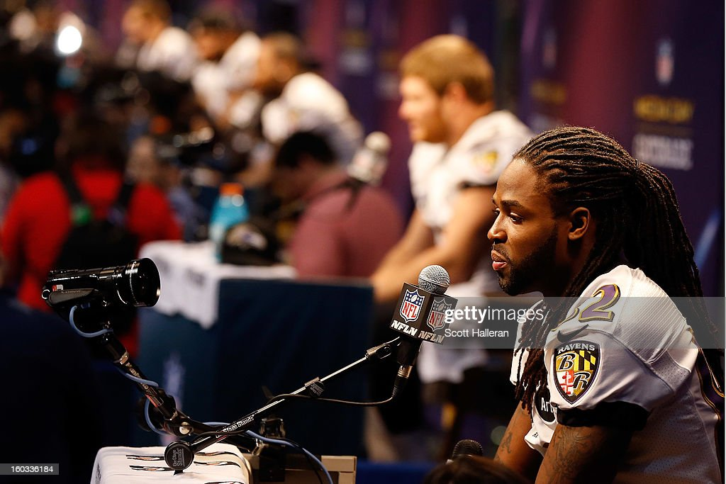 Torrey Smith #82 of the Baltimore Ravens answers questions from the media during Super Bowl XLVII Media Day ahead of Super Bowl XLVII at the Mercedes-Benz Superdome on January 29, 2013 in New Orleans, Louisiana. The San Francisco 49ers will take on the Baltimore Ravens on February 3, 2013 at the Mercedes-Benz Superdome.