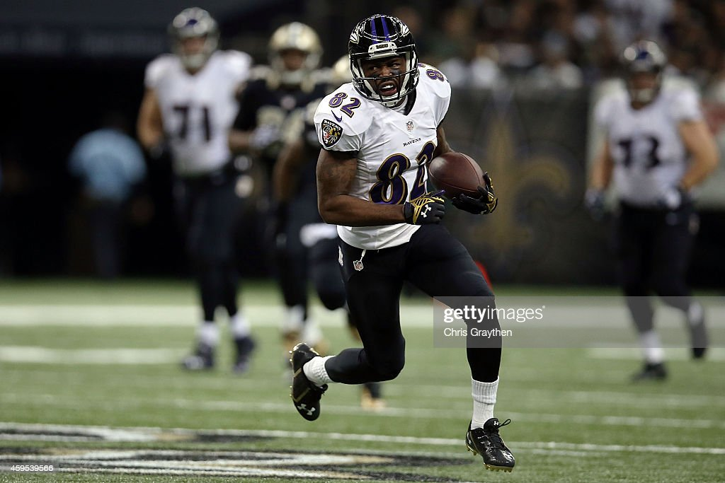 Torrey Smith of the Baltimore Ravens runs for yards during the second quarter of a game against the New Orleans Saints at the MercedesBenz Superdome...