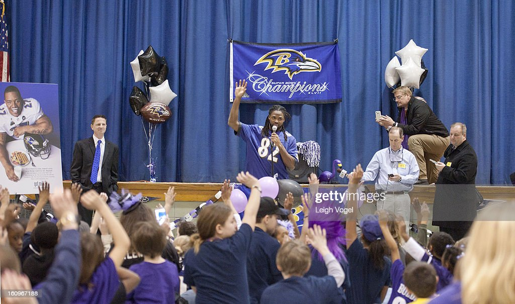 Torrey Smith shares a protein packed breakfast, including milk, with students in support of the Breakfast Blitz campaign. The initiative is a partnership between the 'got milk?' Campaign and Fuel Up to Play 60, providing $250,000 in grants to local schools across the country to help give kids greater access to a healthy breakfast. The event took place at Chase Elementary School on February 8, 2013 in Baltimore, Maryland.
