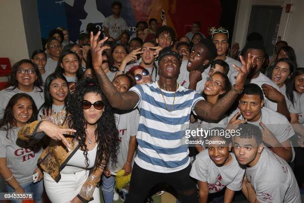 TT Torrez and Phresher attends the 'Senior 100' Pep Rally at New Heights Academy Charter School on June 9 2017 in New York City