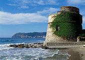 Torrione Saraceno or Torrione della Coscia watchtower Alassio Liguria Italy 16th century