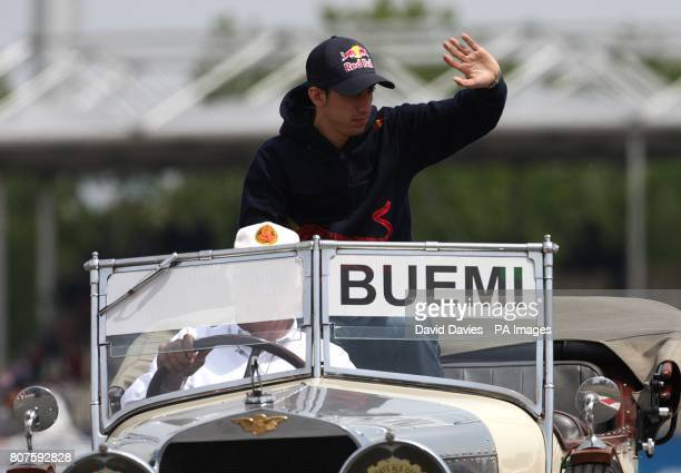 Torro Rosso's Sebastien Buemi during the driver's parade prior to the start of the Spanish Grand Prix