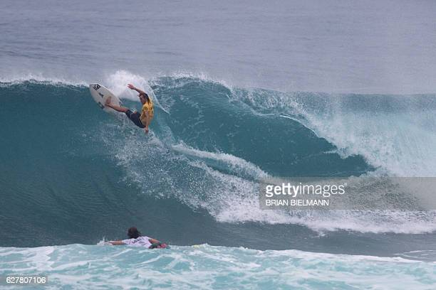 Torry Meister of Hawai competes in the 2016 Vans World Cup surfing event at Sunset Beach Hawai on December 4 2016 The event was won by South African...