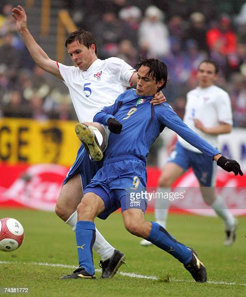 Italy's Filippo Inzaghi scores past Faroe Islands' Jon Ron Jacobsen during their Euro 2008 group B qualifiying football match at Torsvollur stadium...