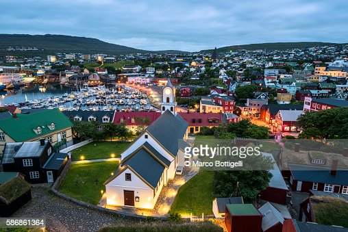 Torshavn, Stremnoy island, Faroe Islands, Denmark. View over the city at dusk.