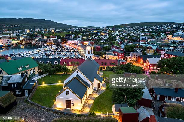 Torshavn, Stremnoy island, Faroe Islands, Denmark. View over the city at dusk.