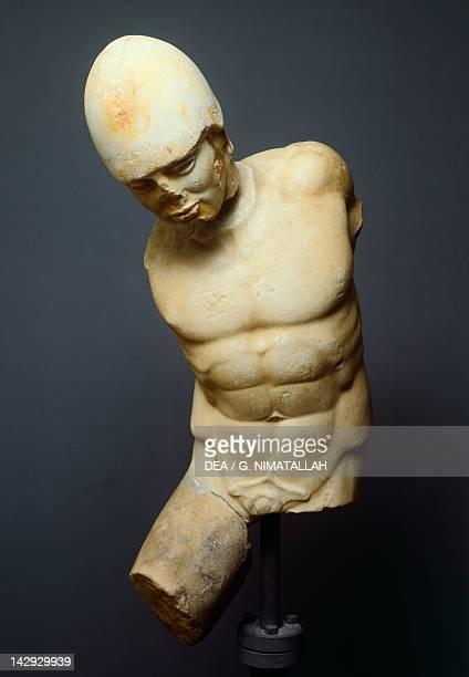 Torso of a fallen warrior attributed to Pythagoras from Reggio attic statue from Agrigento Sicily Italy Ancient Greek civilization Magna Graecia 5th...