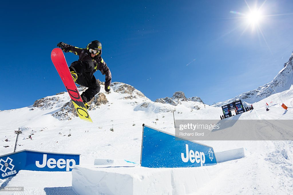 Torstein Horgmo of Norway performs during the Slopestyle snowboard training sessions during day two of Winter X Games Europe 2013 on March 19, 2013 in Tignes, France.