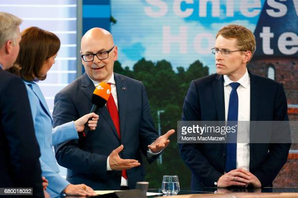 Torsten Albig incumbent candidate of the German Social Democrats and Daniel Guenther lead candidate of the German Christian Democrats are interviewed...
