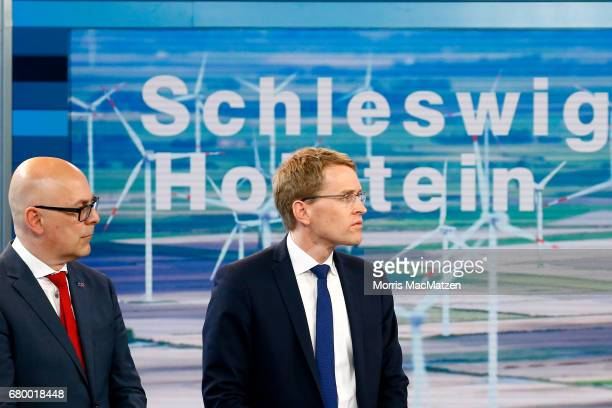 Torsten Albig incumbent candidate of the German Social Democrats and Daniel Guenther lead candidate of the German Christian Democrats are seen in a...