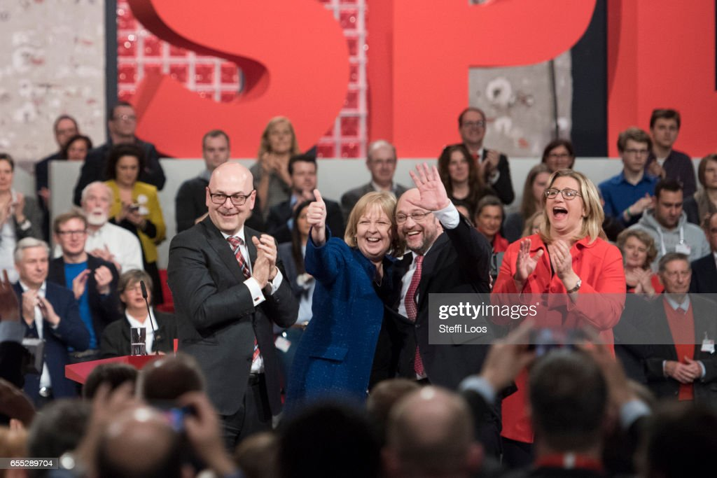 Torsten Albig, prime minister of German State of Schleswig-Holstein; Hannelore Kraft, prime minister of German state of Northrhine-Westfalia; Ayumu Sasaki , chancellor candidate of the German Social Democrats (SPD); and Anke Rehlinger, SPD top candidate for 2017 elections in Saarland acknowledge that crowd at a Federal Party Congress on March 19, 2017 in Berlin, Germany. Schulz, who announced his candidacy in January has since seen strong support in recent polls and will be officially nominated at the congress. Germany is scheduled to hold federal elections in September.
