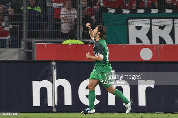 Torsten Frings of Bremen celebrates after scoring his team's first goal during the Bundesliga match between Hannover 96 and SV Werder Bremen at AWD...