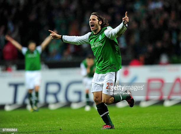 Torsten Frings of Bremen celebrates scoring his team's third goal during the Bundesliga match between SV Werder Bremen and VfL Bochum at Weser...
