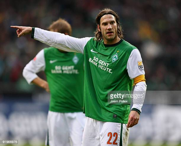 Torsten Frings of Bremen gestures during the Bundesliga match between SV Werder Bremen and 1899 Hoffenheim at Weser Stadium on October 17 2009 in...