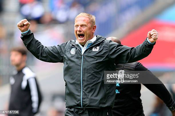 Torsten Froehling head coach of 1860 Muenchen celebrates his team winning goal during the Second Bundesliga match between 1860 Muenchen and VfL...
