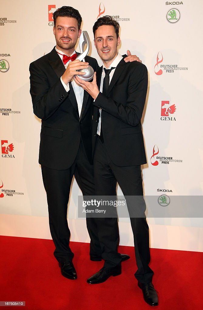 Torsten Goods (L) and Jan Miserre pose at the Deutscher Musikautorenpreis (German Songwriter Prize) 2013 ceremony at the Ritz Carlton hotel on April 25, 2013 in Berlin, Germany. The prize has been presented by GEMA (Gesellschaft fuer musikalische Auffuehrungs- und mechanische Vervielfaeltigungsrechte), the German society for musical performing and mechanical reproduction rights, since 2009.