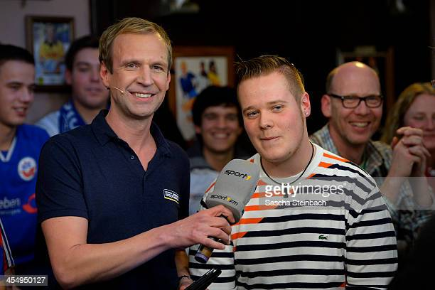 Torsten Knippertz and Max Hopp attend the Sport1 Mobilat Fan Talk at 11 Freunde Bar on December 10 2013 in Essen Germany