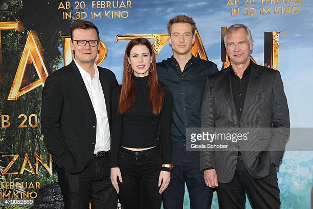 Torsten Koch Lena MeyerLandrut Alexander Fehling Reinhard Klooss attend the 'Tarzan' photocall at Hotel Bayerischer Hof on February 18 2014 in Munich...