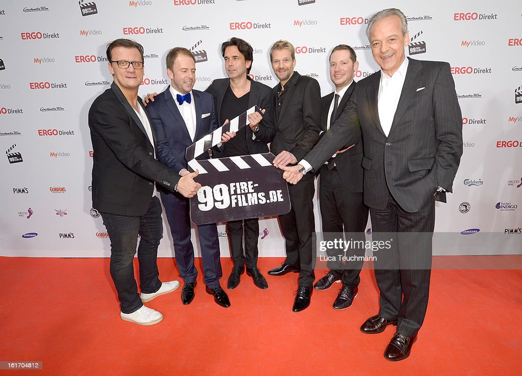 Torsten Koch, Stefan Kiwit, Manuel Uhlitzsch, Kai Wiesinger, Marco Kreuzpaintner and Peter M. Endres attend the 5th '99Fire-Films-Award' - Red Carpet Arrivals at Admiralspalast on February 14, 2013 in Berlin, Germany.