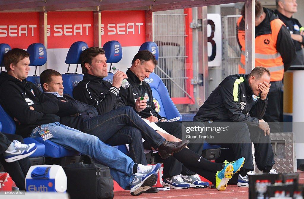Torsten Lieberknecht, head coach of Braunschweig looks dejected during the Bundesliga match between Eintracht Braunschweig and 1. FC Nuernberg at Eintracht Stadion on September 15, 2013 in Braunschweig, Germany.