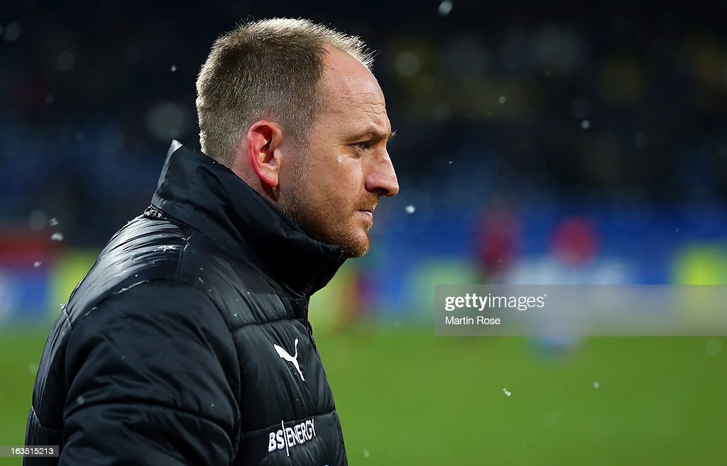 Torsten Lieberknecht, head coach of Braunschweig looks on before the second Bundesliga match between Eintracht Braunschweig and 1. FC Kaiserslautern at Eintracht Stadium on March 11, 2013 in Braunschweig, Germany.