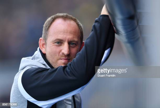 Torsten Lieberknecht head coach of Braunschweig looks on during the Second Bundesliga match between Eintracht Braunschweig and FC St Pauli at...