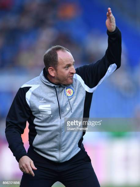 Torsten Lieberknecht head coach of Braunschweig points during the Second Bundesliga match between Eintracht Braunschweig and FC St Pauli at Eintracht...