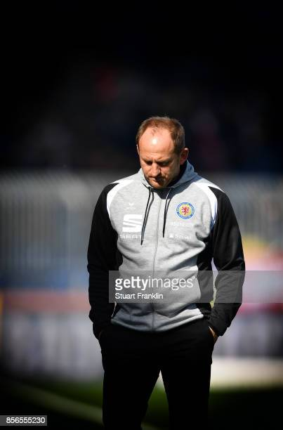 Torsten Lieberknecht head coach of Braunschweig ponders during the Second Bundesliga match between Eintracht Braunschweig and FC St Pauli at...