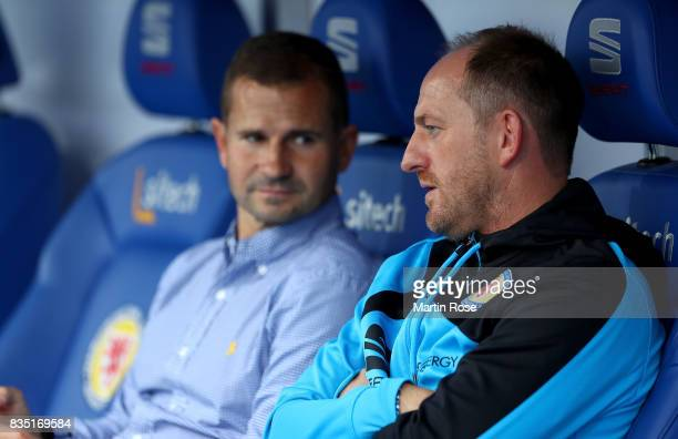Torsten Lieberknecht head coach of Braunschweig reacts before the Second Bundesliga match between Eintracht Braunschweig and FC Erzgebirge Aue at...