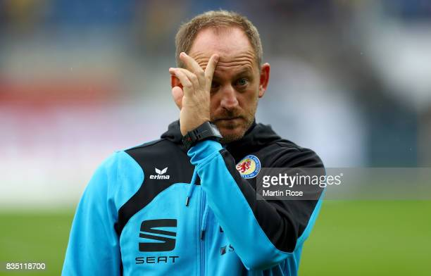 Torsten Lieberknecht head coach of Braunschweig reacts during the Second Bundesliga match between Eintracht Braunschweig and FC Erzgebirge Aue at...