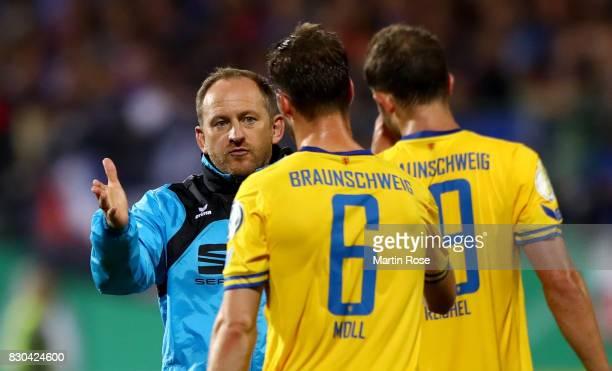 Torsten Lieberknecht head coach reacts after the DFB Cup first round match between Holstein Kiel and Eintracht Braunschweig at HolsteinStadion on...