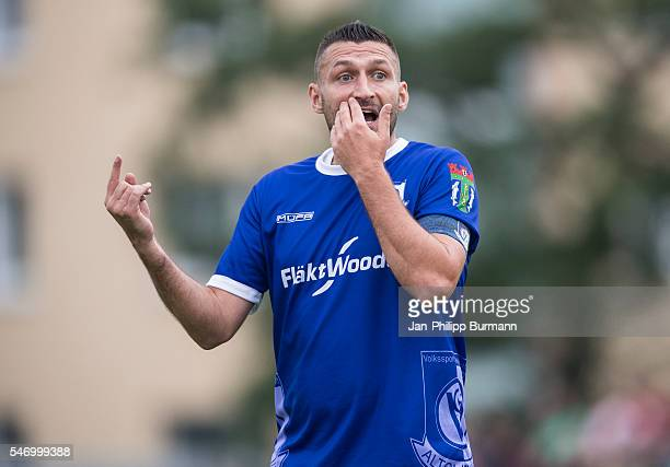 Torsten Mattuschka of VSG Altglienicke gestures during the test match between VSG Altglienicke and Werder Bremen on July 12 2016 in Berlin Germany