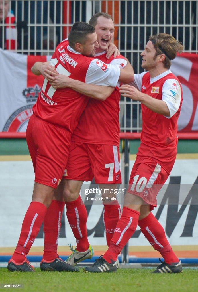 Torsten Mattuschka Patrick Kohlmann and Martin Dausch of Berlin celebrate during the Second Bundesliga match between 1 FC Union Berlin and Arminia...