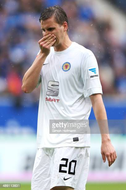 Torsten Oehrl of Braunschweig reacts during the Bundesliga match between 1899 Hoffenheim and Eintracht Braunschweig at Wirsol RheinNeckar Arena on...