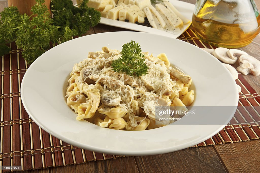 Tortellini Alfredo Cheese Ravioli - Stock Image : Stock Photo