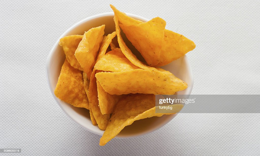 tortilla chips in white bowl : Stock Photo