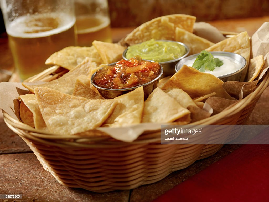 Tortilla Chips with Salsa : Stock Photo