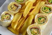 Wrap Sandwich, Sandwich, Chicken Meat, Fries, Food, Cutlery