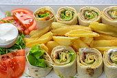 Wrap Sandwich, Sandwich, Meat, Fries, Food