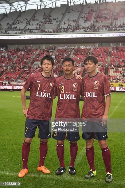 Toru Araiba Atsushi Yanagisawa and Kouji Nakata of Kashima Legends participate in the J League 2015 retirement game at Kashima Stadium on July 5 2015...