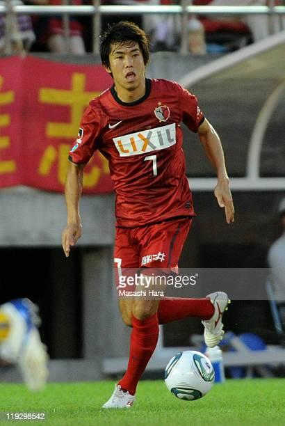 Toru Araiba of Kashima Antlers in action during the JLeague match between Kashima Antlers and Vegalta Sendai at Kashima Soccer Stadium on July 17...