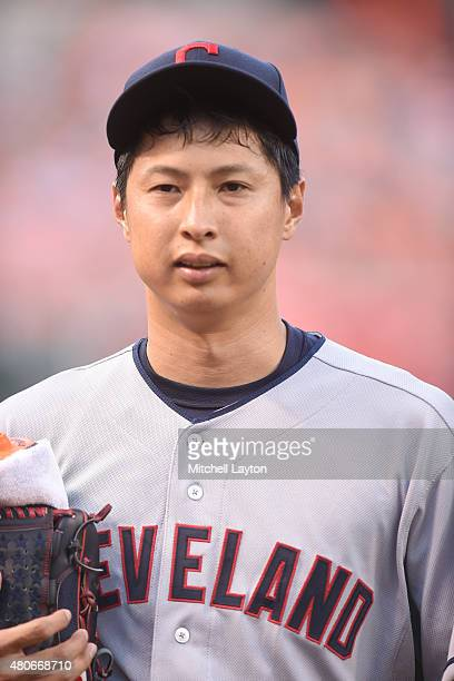 Toru Murata of the Cleveland Indians looks on before game two of a baseball game against the Baltimore Orioles at Oriole Park at Camden Yards on June...