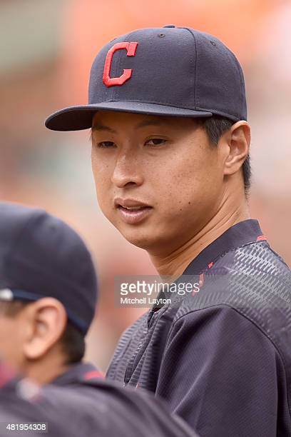 Toru Murata of the Cleveland Indians looks on during game one of a baseball game against the Baltimore Orioles at Oriole Park at Camden Yards on June...