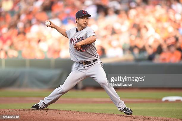Toru Murata of the Cleveland Indians pitches during game two of a baseball game against the Baltimore Orioles at Oriole Park at Camden Yards on June...